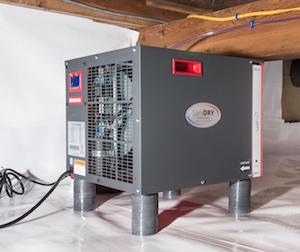 SaniDry dehumidifier in a crawl space