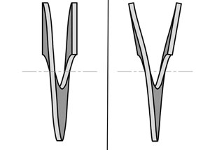 illustration of a proper helical blade and a duckbill shaped helical blade.