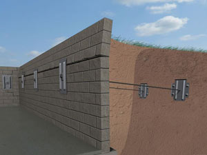 A graphic illustration of a foundation wall system installed in Yakutat